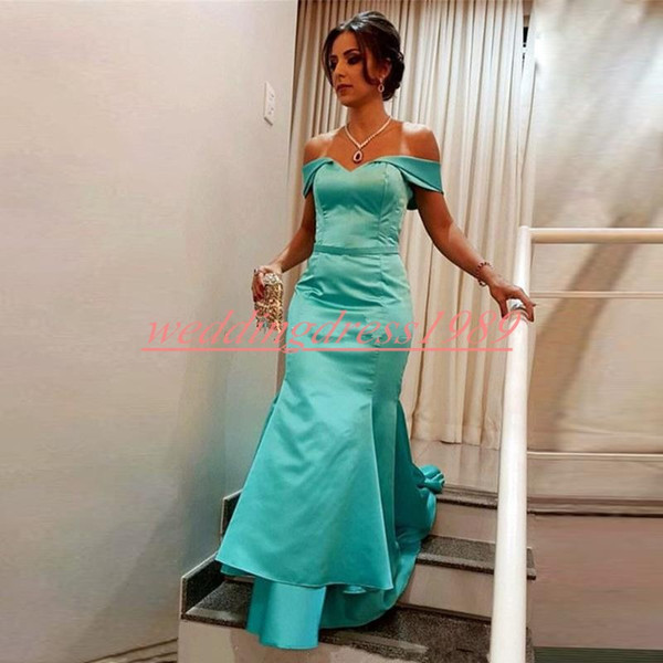 Real Image Turquoise Mermaid Evening Dresses Satin Cheap Off The Shoulder African Prom Dress Party Formal Special Occasion Pageant Gowns