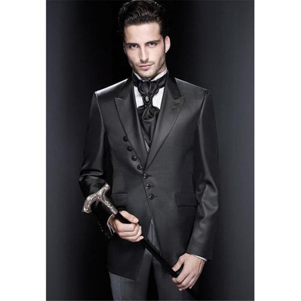 Shinny Black Wedding Suits For Men 2019 New Peaked Lapel Tuxedos Mens Suit Groomsmen Slim Fit Blazer (Jacket+Pants+Vest+Tie)