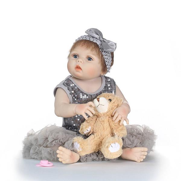 Bebe Reborn Lifelike Silicone Reborn Baby Menina Alive 23'' Newborn Baby Dolls Full Vinyl body Truly Kids Playmates Gifts