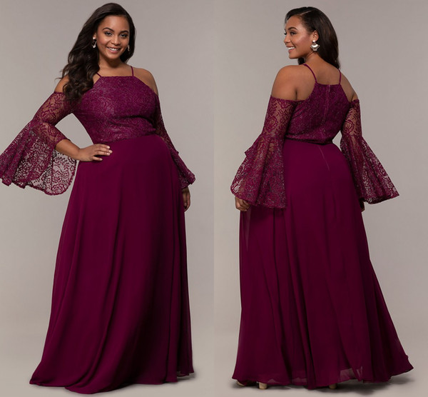 Lastest Cold Shoulder Plus Size Special Occasion Prom Evening Dress Party  Wear Chiffon Juliet Long Sleeves Lace Designer Cheap Formal Gowns Plus Size  ...