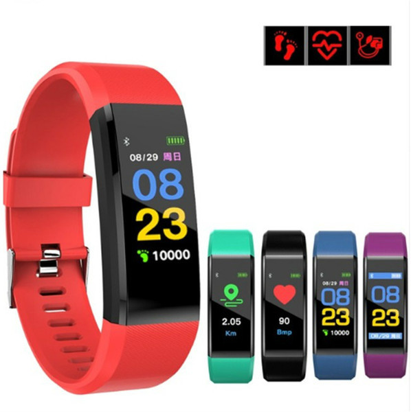 Fitbit id115 plu mart band bracelet color lcd creen fitne tracker pedometer heart rate blood pre ure monitor band wri tband