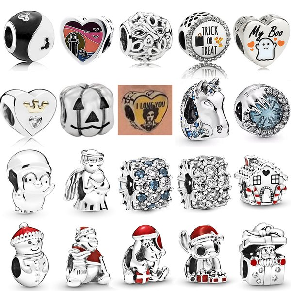 NEW 2019 100% 925 Sterling Silver Winter Halloween Christmas Frozen Crystal Penguin Charm Fit DIY Women Original Bracelet Gift