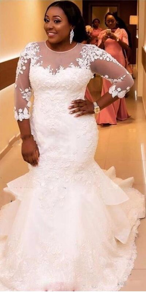 Plus Size Jewel Illusion Long Sleeve Mermaid Wedding Dress White Lace Pakistani Tulle And Maternity Fat Woman Wedding Dress With Illusion B Bridal