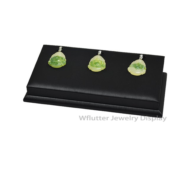 Black Leather Pendant Display Rack Jade Holder Jewelry Showing Stand Necklace Organizer Props Shelf For 3 Pendant