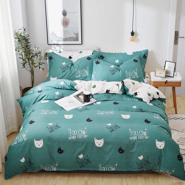 ZEIMON Cyan Cute Cat Kitty Duvet Cover Set Pillow Case Bed Sheet Boy Kid Teen Girl Bedding Sets King Queen Twin Home Textile