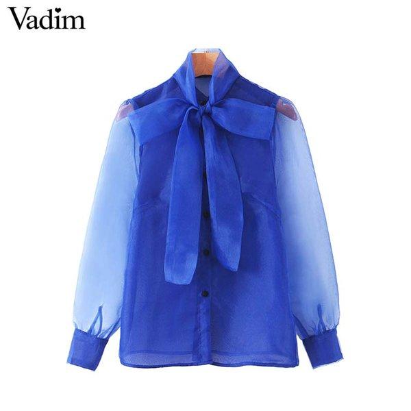Vadim женщины шикарной органза лоскутной блузка галстук воротник прозрачный рукав рубашка женская стильные топы blusas LB550