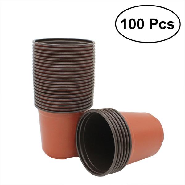 Fioriere in plastica da 100 pezzi Fioriere da vaso in plastica Vaso da giardino Decorazioni per piccoli fiori (9x7x8cm)