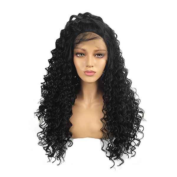Curly Synthetic Hair Wigs With Baby Hair Bleached Knots Non Remy 13*4 Lace Frontal Wigs Pre-Plucked Full Density