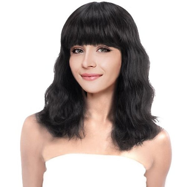 Glueless Lace Front Human Hair Wigs for black women Pre Plucked Lace Front Wig Human Hair wave with bangs wigs Brazilian Remy Wig
