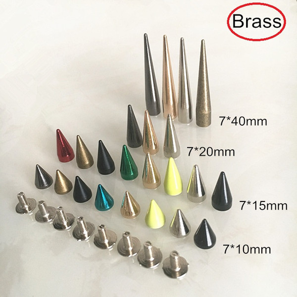 Different Sizes of Brass Bullet Rivet Sutds Spikes,7*10mm,7*15mm,7*20mm,7*40mm,Screw Studs For Leather Crafts,Gold,Silver,Bronze