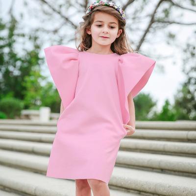 Bébé Fille Large Manches À Volants Robes Eté Boutique D'été Enfants Vêtements Euro America Enfants Sans Manches Couleur Unie Lâche Robes 2 Couleurs