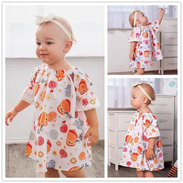 Hallowmas Mädchen Kleider süßes Baby Kleid Baby Mädchen Kleidung Kinder Designer Kleidung Mädchen Kleid Kleinkind Mädchen Kleidung A7123