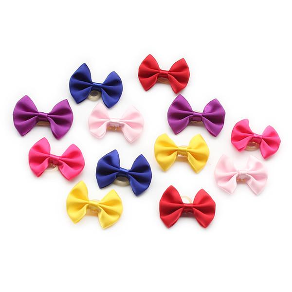 100 STÜCKE Mix Farbe Handma Einfache Einfarbig Hund Bogen Hunde Haar Kleine Blume Bögen 6029023 Hundesalon Zubehör Großhandel