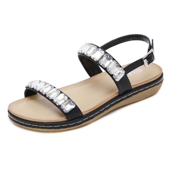 Bohemian Summer Shoes Sweet Womens Rhinestone glass Flat Sandals High Quality Buckle Beach shoes Casual Flats Plus Size 35-42