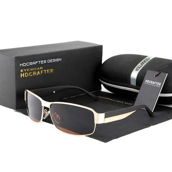 HDCRAFTER New style Polarized Sport Sunglasses alloy frame Anti-Glare driving Riding ultraviolet-proof HD Elegant Sun glasses,Gift box