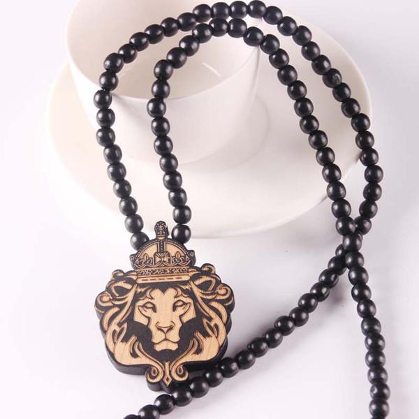 Mode König der Löwen Anhänger Halskette Geschnitzte Holzperlen Lange Halskette Tier König Vintage Hiphop Für Männer Frauen Schmuck