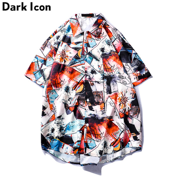 Dark Icon Graffiti Printed Front Short Back Long Men's Shirt 2019 Summer Hip Hop Shirt Men Street Shirt Male