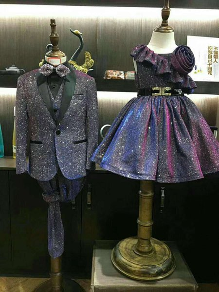 Shiny Boy Formal OccasionTuxedos Black Shawi Lapel One Button Kids Wedding Tuxedos Child Suit Holiday clothes(Jacket+Pants+Tie+Vest) 8