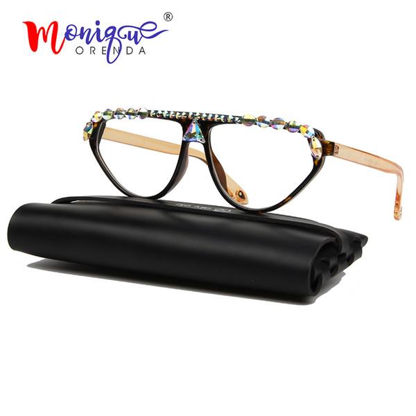 2019 cat eye sunglasses women vintage colorful rhinestone decoration sun glasses transparent lens eyeglasses oculos uv400