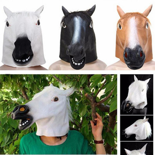 Scary horse Latex Mask Breathable Novelty Full Face Head Mask Halloween Masquerade Mask Fancy Dress Festival Party Decoration ST029
