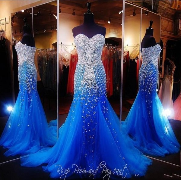 Royal Blue Mermaid Long Prom Dresses Pageant Women Sexy Sweetheart Vestido Luxury Beaded Crystal Tulle Pageant Evening Gowns