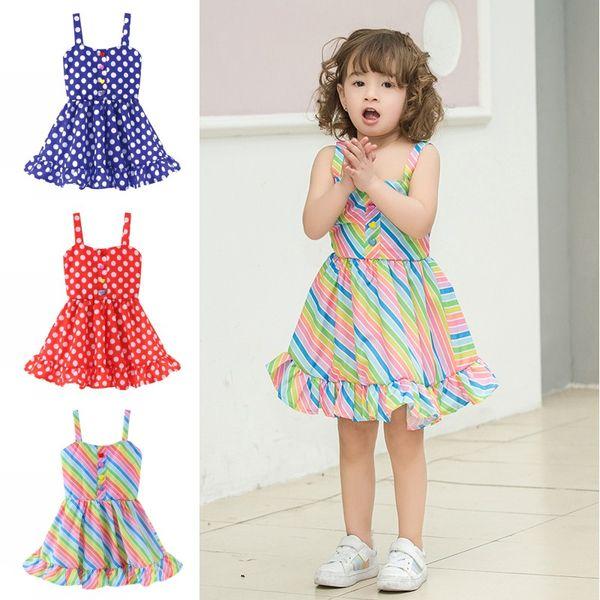 doppelter gutschein im Angebot Schönheit Großhandel Kinder Mädchen Kleidung Baby Regenbogen Streifen Dot Kleid  Kinder Designer Kleidung Mädchen Hosenträger Kleid Sommer Sling Beach  Kleider ...