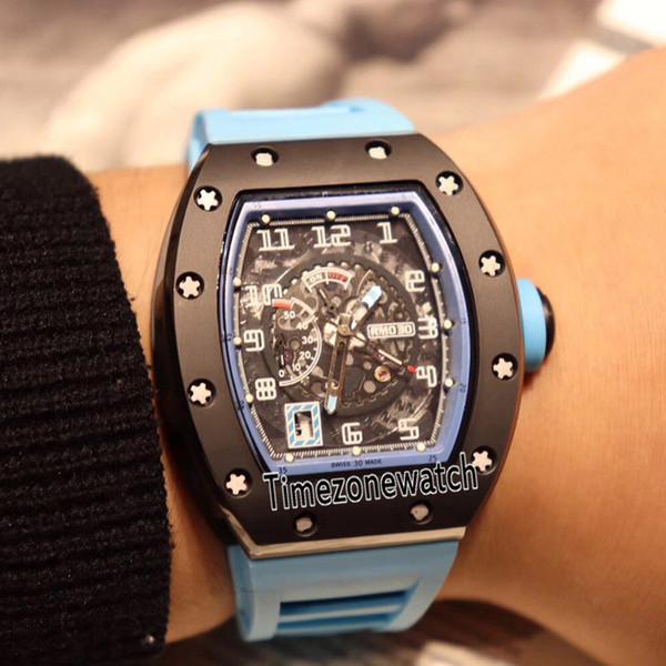 En iyi Baskı RM030 Iki Ton Siyah Seramik PVD Çelik Mavi İç Siyah Kadran Miyota Otomatik Erkek İzle Mavi Kauçuk Saatler Timezonewatch 16d4