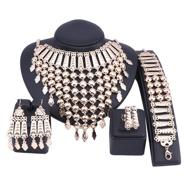 Bridal Gift Nigerian Wedding African Beads Jewelry Set Brand Woman Fashion Dubai Gold Color Tassel Jewelry Set Wholesale Design