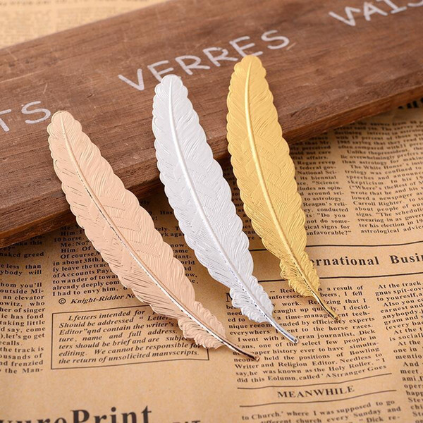top popular Hot Office School Metal Feather Bookmark Chinese Style Vintage Page Nice Cool Book Markers School Supplies Party Wedding Gifts For Guests LX 2021