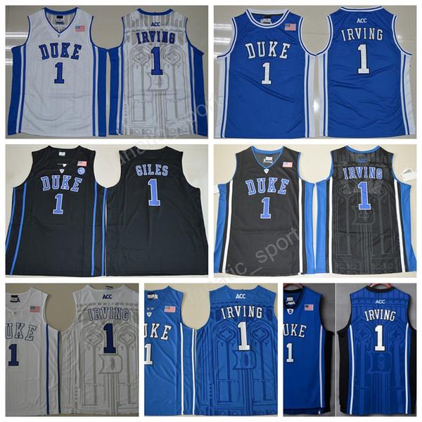 Hot Men 1 Kyrie Irving Jersey College Duke Blue Devils Pullover di pallacanestro Sale 1 Jabari Parker 1 Harry Giles Tutti cuciti Blu Nero Bianco