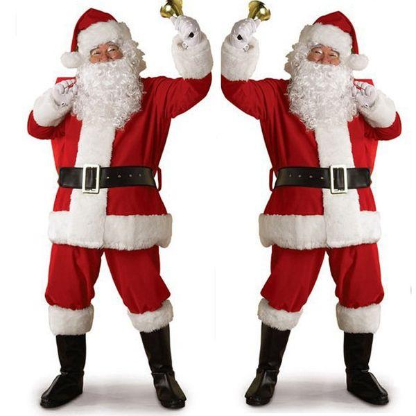 Navidad Ropa de Navidad Ropa de hombre y mujer Traje de disfraces de Santa Claus traje adulto cosplay ropa de terciopelo dorado