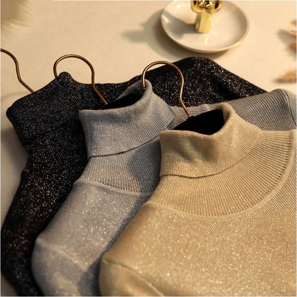 Designer mulheres camisola das mulheres Camisolas Glitter Turtleneck Knit Sweater Shinny Chic e pulôveres Outono Fina Bling Lurex Baisc Sweater