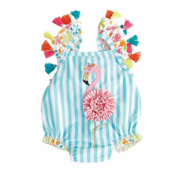 top popular New Baby Girl Adorable Bikini One Piece Tassel Swimwear Floral Swimsuit Cartoon Bird Kid Bathing Suit Princess Toddler Beachwear 2020