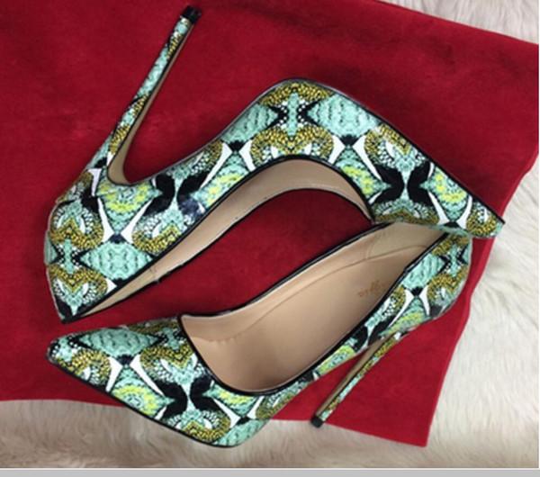 19 zapatos de tacón alto para mujer de piel de serpiente verde 10 cm 8 cm 12 cm tamaño grande 44 Cúspide Tacón fino Zapatos de soltero Trabajo de boda Club nocturno Zapatos de fondo rojo