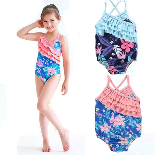 2019 Baby Girls Swimsuits Floral Girls Swimwear One Piece Ruffled Bathing Suit Kids Suspender Swim Clothes Summer Swimming Costumes YW3226 From