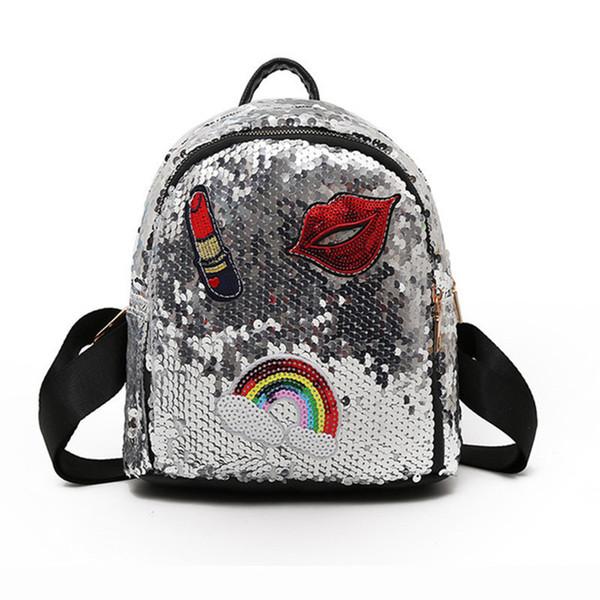 School Bag For Girls Small Hologram Bag Sequins Laser With Sparkles Lips Lipstick Children's Backpacks For Girls Mochila Escolar Y19051701