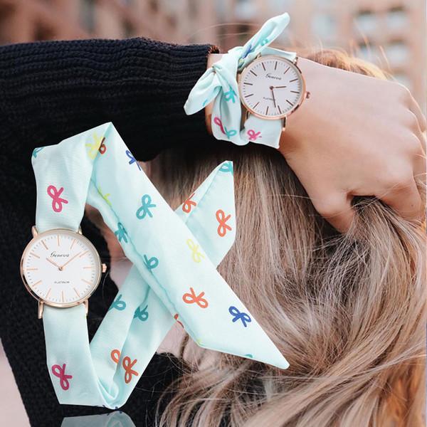 Multicolor Tecido Rosa Mulheres Relógios Moda Flores Pano Reloj Mujer Relógio Design Exclusivo Doce Menina Pulseira de Relógio