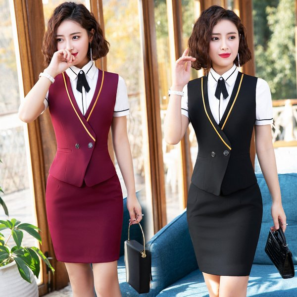 New Style Summer Women Suit Skirt And Tops Vest Waistcoat Office Uniform Lady Formal Skirt Suit Wear For Work Plus Size