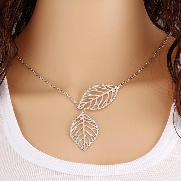 Métal double feuille d'argent collier double feuille chaîne de la clavicule collier femmes chaîne en or pendentif bijoux
