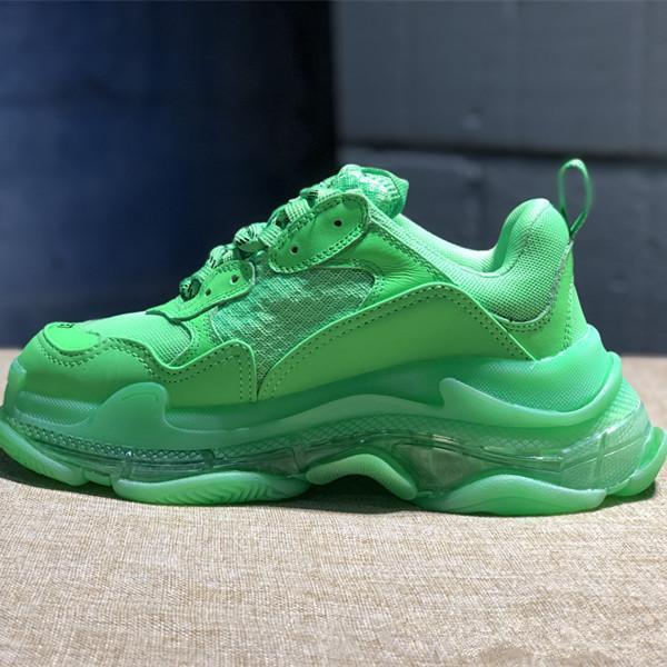 2019 chaude Triple-S Sneaker Vert foncé Triple S Casual chaussures Papa Chaussures pour Hommes Femmes Beige Noir Sports Tennis 36-45