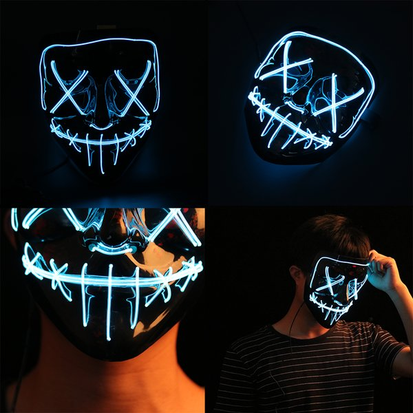 Halloween LED Masque Light Up Party Masques Neon Maska Cosplay Mascara Horreur Mascarillas Lueur Dans Dark Masque V pour Vendetta