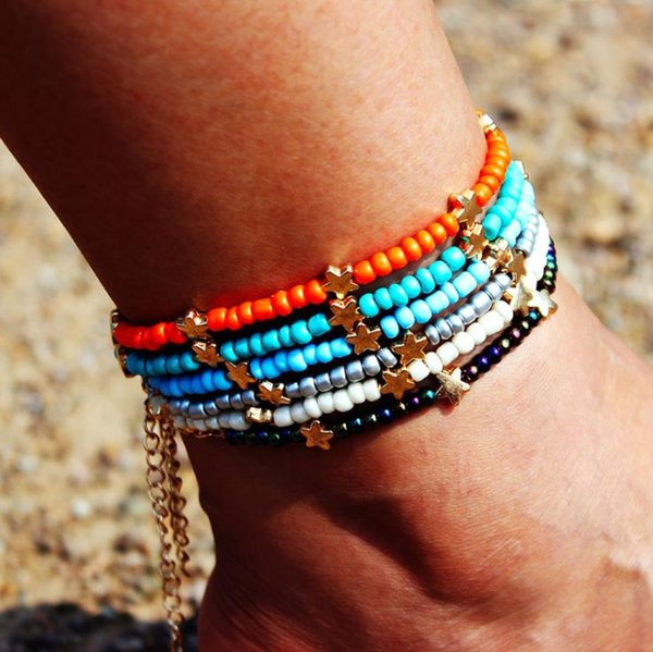 Piedra natural cristal cristal multicolor arroz grano tobillera sol luna estrella playa tobillera