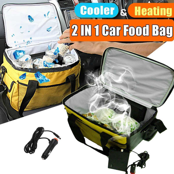 best selling 12V 20L Portable Electric Cooler Heated Lunch Box Car Bento Boxes Food Warmer Storage Bag Container for Travel Office Home Gift T200429