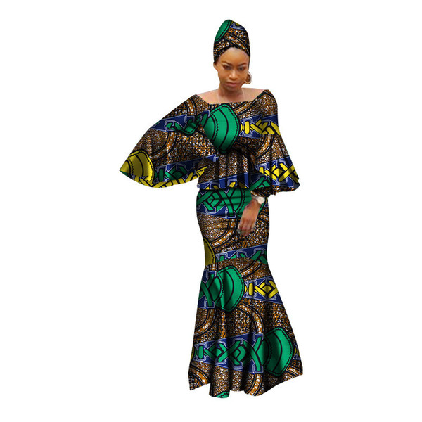 African dresses for women 100% cotton 2019 new african fashion kanga clohing baize riche 2 pieces set african clothing WY2809