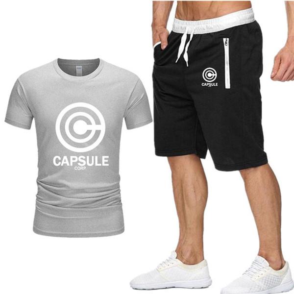 Freies Verschiffen-KAPSEL-Druck-Trainingsanzug-T-Shirt + Kurzschlussart und weisetrends in den Eignungs-Markent-shirts für Mann-Bodybuildingkleidung S-XXL D7