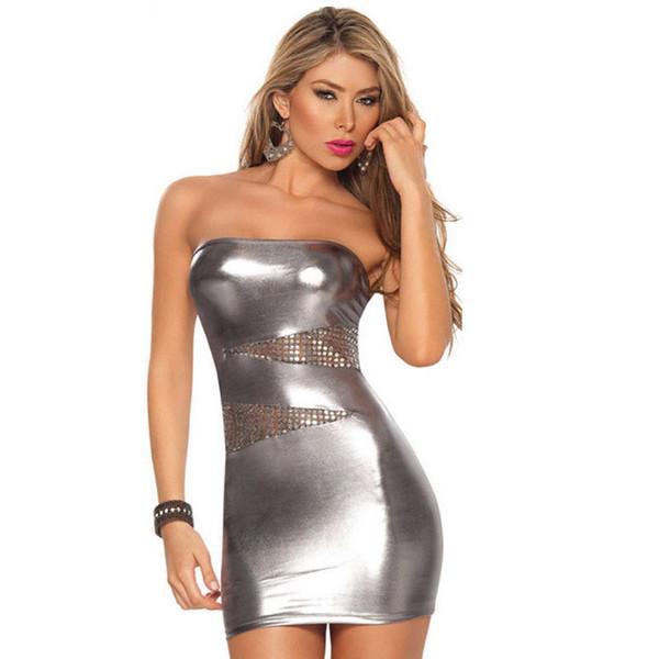 Compre Mujeres Sexy Mini Falda De Cuero Negro Mini Vestido Tight Night Clubwear Ropa Lencería Ropa De Dormir Ropa De Dormir Babydoll Clubwear Ropa