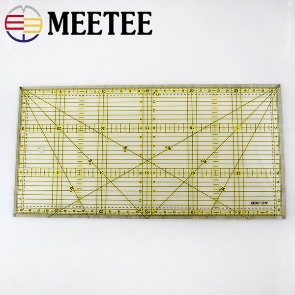 Meetee 15x32CM Quilting Patchwork Ruler Multi-function Transparent Cutting Ruler Making Clothes Handmade DIY Sewing Tool AP621
