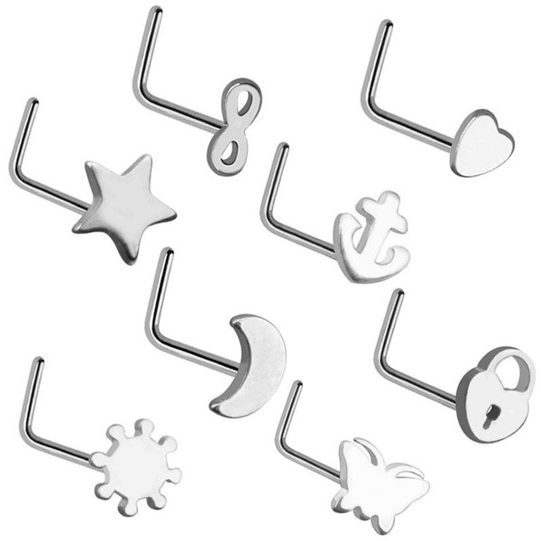 Women Stainless Steel Nose Studs Rings L Shaped Infinity Love Moon Heart Nose Septum Piercing Body Jewelry