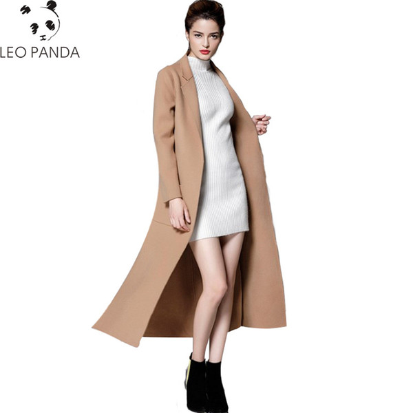 New casual cashmere coat 2019 autumn and winter hand-sewn double-faced coat female high quality woolen women's clothing