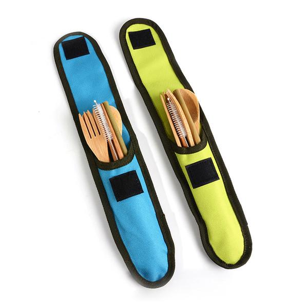 6 шт./компл. бамбук путешествия столовые приборы Набор столовая бамбуковая вилка нож ложка палочки для еды соломы щетка для чистки столовые приборы Набор с сумкой FFA2407